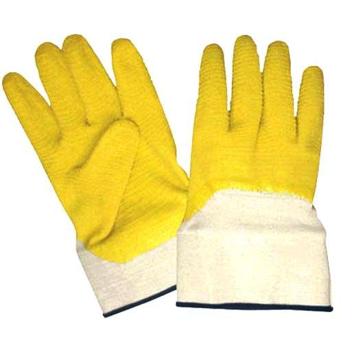 Yellow Latex Coated Jersey Shell Gloves, Crinkle, Safety Cuff