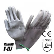 Gray PU Anti-static Gloves ,Nylon Knit Palm Coated Gloves