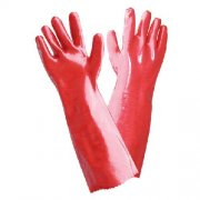 Long Coated Red PVC Gloves