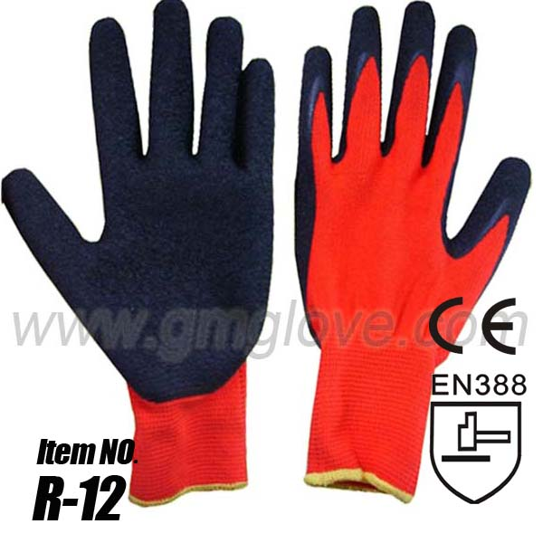 thin natural palm latex coated hand gloves