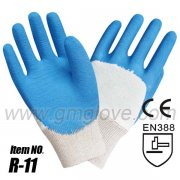 Blue Latex Dipped Safety Gloves,3/4