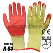 Red Natural Latex Palm & Thumb Dipped Hand Gloves, Cotton String