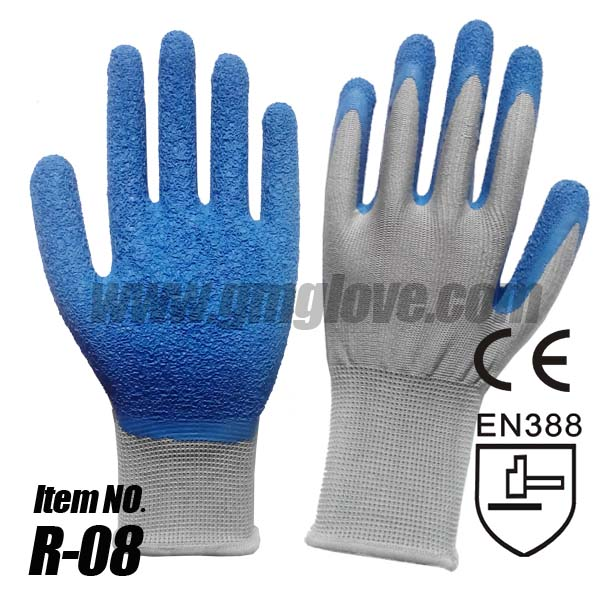 Polyester Seamless Garden Gloves Coated With Natural Latex