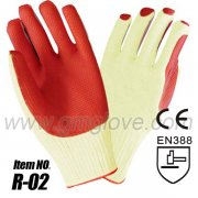 10 gauge cotton red natural latex coated safety gloves