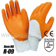 Orange Rubber Coated Work Gloves, Cotton Knitted Wrist
