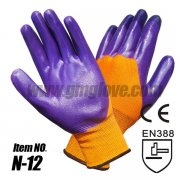 Purple Nitrile Nylon Gloves, Nylon
