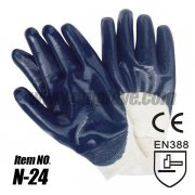 Blue Lightweight Nitrile Coated Cotton Gloves,Knited wrist