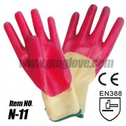 Pink Nitrile Coated Hand Gloves With 13-Gaug Nylon Seamless Knit