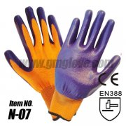 13-Gauge Nitrile Dipped Gloves, Purple Palm Coating
