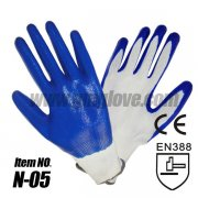Blue Nitrile Dipped Work Gloves Wit