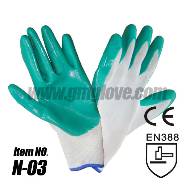 13 Gauge Orange Nitrile Nylon Gloves, Palm Dip