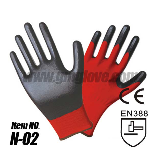 Black Nitrile Palm Coated Gloves