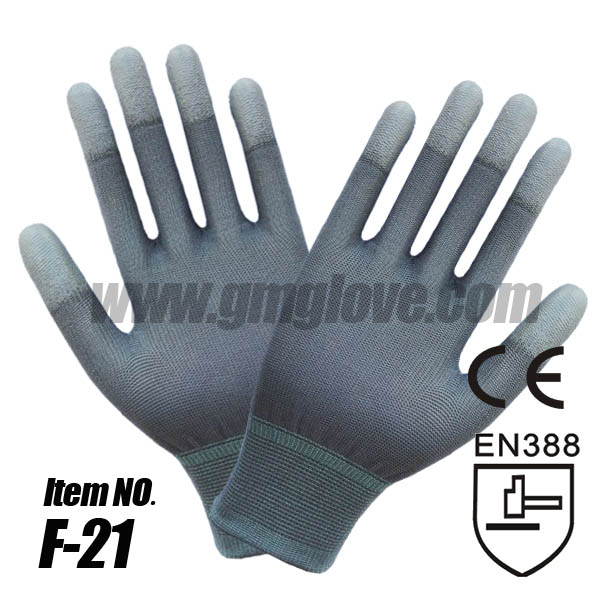 Antistatic Grey Nylon PU Dipped Gloves, Finger Coating