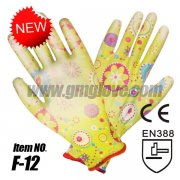 Flowery Printed PU Gloves, 13-Gauge
