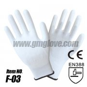 Thin White PU Coated Gloves, Polyes