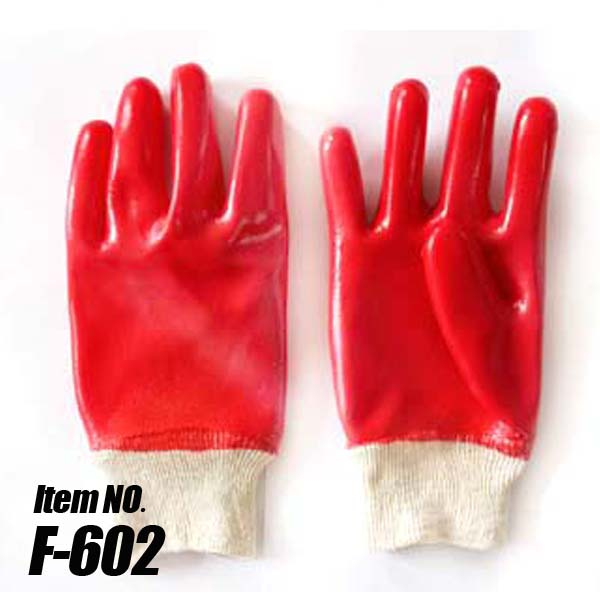 Red PVC Coated Gloves, Jersey Lined, Knit Wrist