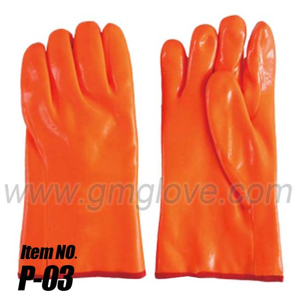 Fluorescent PVC Chemical Resistance Gloves,winter cold Weather