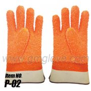 Orange Fluorescent PVC Dipped Gloves,Chemical Protective,Safety Cuff
