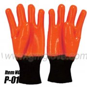 Cold Weather PVC Gloves - Orange Fluorescent PVC Safety Gloves