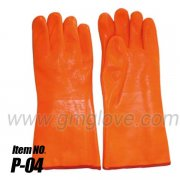 Orange Fluorescent PVC Coated Work Gloves For Winter, Sandy Palm